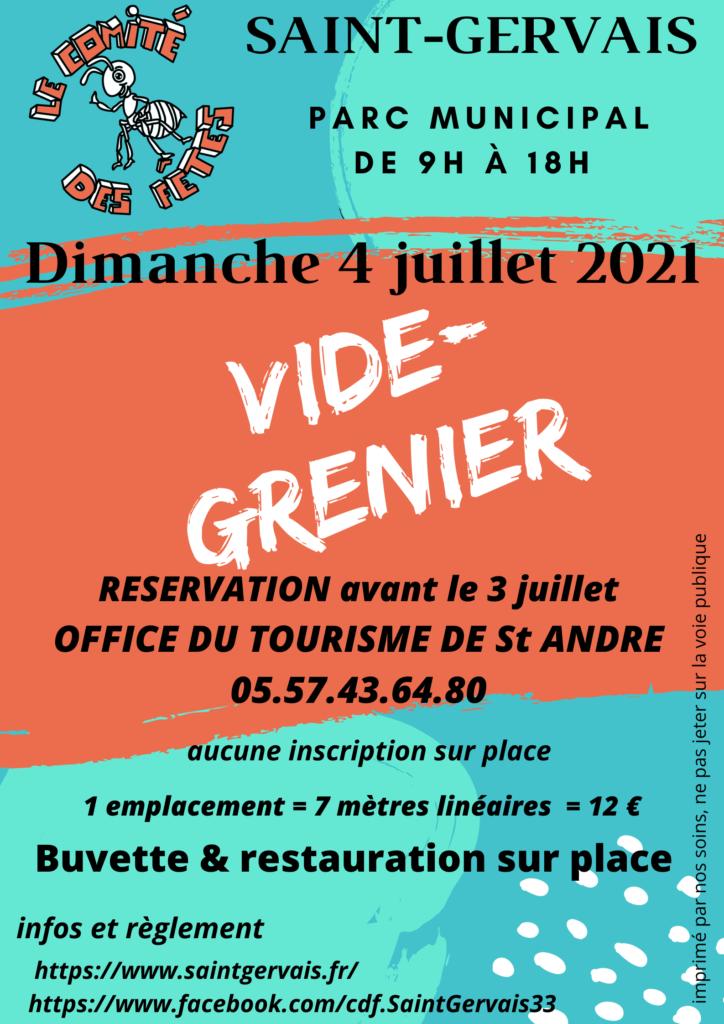 Vide grenier le 4 juillet 2021 - parc municpal St Gervais